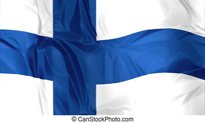 Flag of Finland waving - Waving flag of Finland, blue white...
