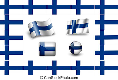 flag of Finnland. icon set