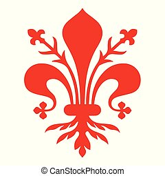 Flag of Florence. Coat of arms of Florence - Tuscany. The...