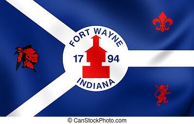 Flag of Fort Wayne, USA. Close Up.