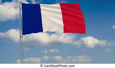 Flag of France against background of clouds