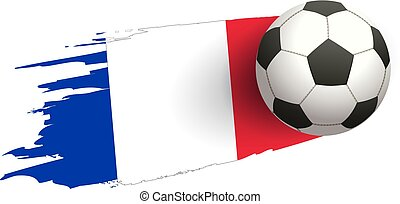 Flag of France and soccer ball of football symbol
