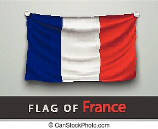 FLAG OF france battered, hung on the wall