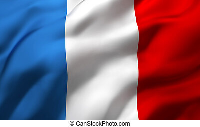 Flag of France blowing in the wind