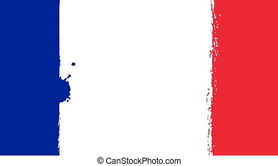 Flag of France - Drawing French Flag by Brush Strokes