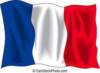 Flag of France - Waving flag of France isolated on white