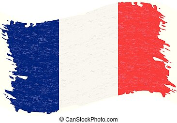 Flag of France, Grunge Abstract Brush Stroke Isolated On A White Background. Vector Illustration.
