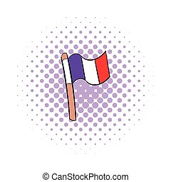 Flag of France icon in comics style