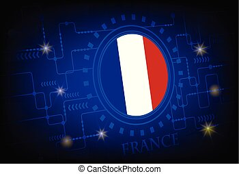Flag of France on a background of technology.