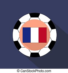 Flag of France on a blue background. Soccer ball.
