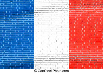 Flag of France on brick wall texture background