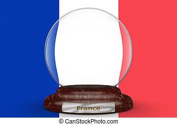 Flag of France on snow globe
