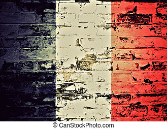 flag of France painted on a wall