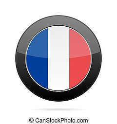 Flag of France. Shiny black round button.