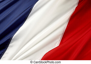 Flag of France - Close up shot of wavy French flag