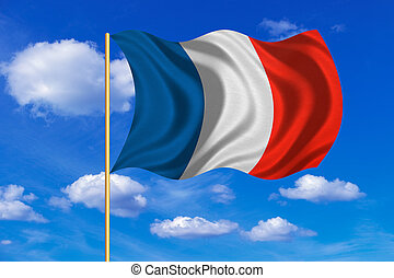 Flag of France waving on blue sky background