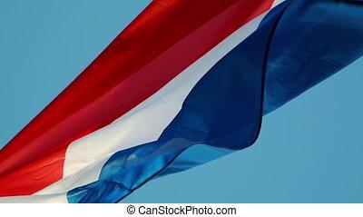 Flag of France waving on blue sky