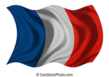 Flag of France wavy on white, fabric texture