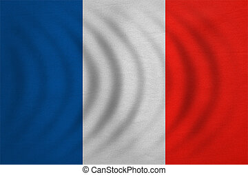 Flag of France wavy, real detailed fabric texture