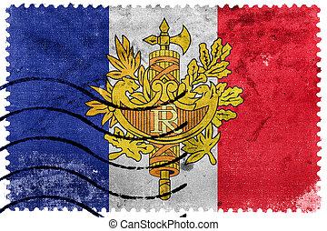 Flag of France with National Emblem, old postage stamp