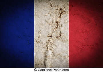 Flag of France with old dirty grunge vintage texture background
