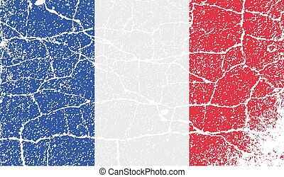Flag of France with old texture. Vector