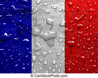 flag of France with rain drops