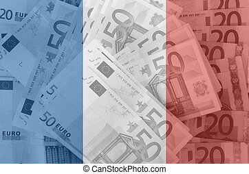 flag of France with transparent euro banknotes in background...