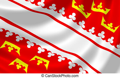 Flag of French Alsace region waving in the wind detail