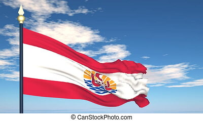 Flag Of French Polynesia on the background of the sky and...