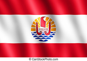 Flag of French Polynesia waving in the wind