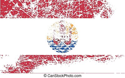 Flag of french polynesia with old texture. Vector