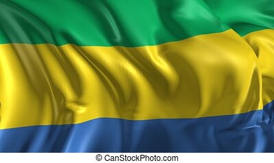 Flag of Gabon - Beautiful 3d animation of Gabon flag in loop...