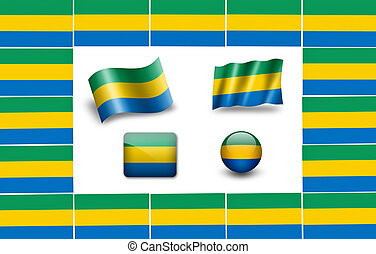 flag of Gabon. icon set