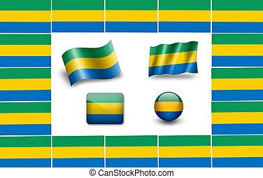 flag of Gabon. icon set