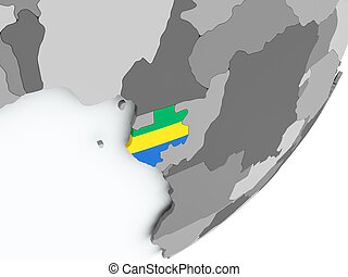 Flag of Gabon on map