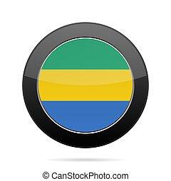 Flag of Gabon. Shiny black round button.