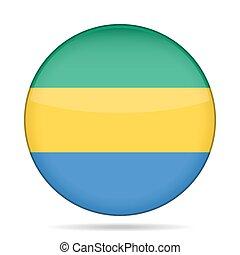 Flag of Gabon. Shiny round button.