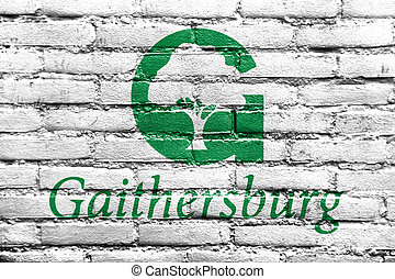 Flag of Gaithersburg, Maryland, USA, painted on brick wall