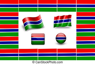 flag of Gambia. icon set