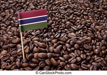 Flag of Gambia sticking in coffee beans.(series)