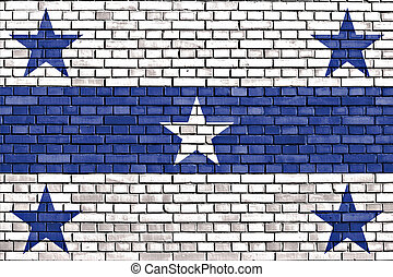 flag of Gambier Islands painted on brick wall