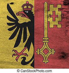 Flag of Geneva on wooden plate background. Grunge Geneva flag texture, The canton of Switzerland Confederation.