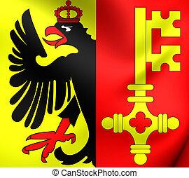 Flag of Geneva, Switzerland. - 3D Flag of the Geneva,...