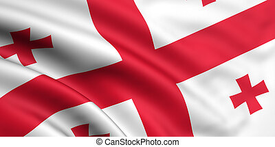 3d rendered and waving flag of georgia