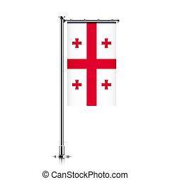 Flag of Georgia hanging on a pole.