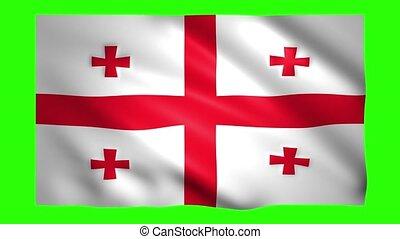 Flag of Georgia on green screen for chroma key