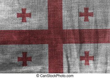 Flag of Georgia on Jeans Denim Texture