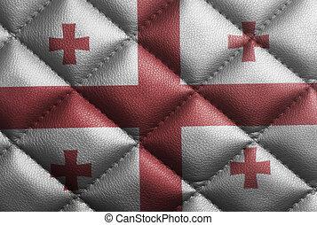 Flag of Georgia on leather texture