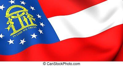 Flag of Georgia, USA . Close up. 3d